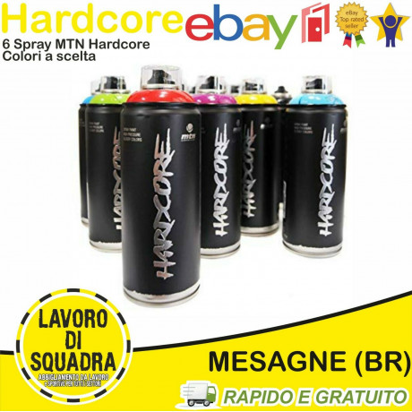 MTN MONTANA HARDCORE - SPRAY PAINT CAN - WRITING PACK 6 COLORI A SCELTA