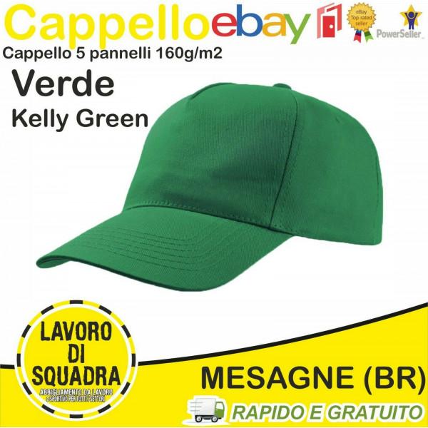 Cappello Con Visiera 5 Pannelli Verde Cappellino Cappelli Cappellini Berretto Baseball Golf Black Spider