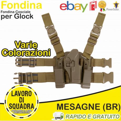 Fondina polimero Glock 17 18 19 SGANCIO RAPIDO Cosciale Rigida Porta Caricatori TAN