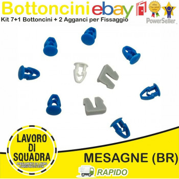 Kit 8 Bottoni + 2 Agganci...